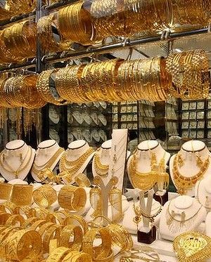 Glittering wares on display at Dubai's gold souk.