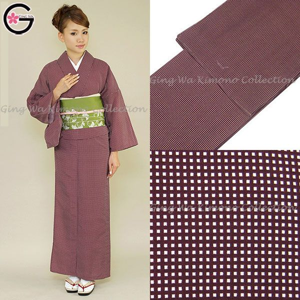 Japanese Hotel Restaurant Uniform Kimono Online Store Traditional Costumes Wine Red Grid Design Lady Polyester Edo Komon Uniform $35~$45