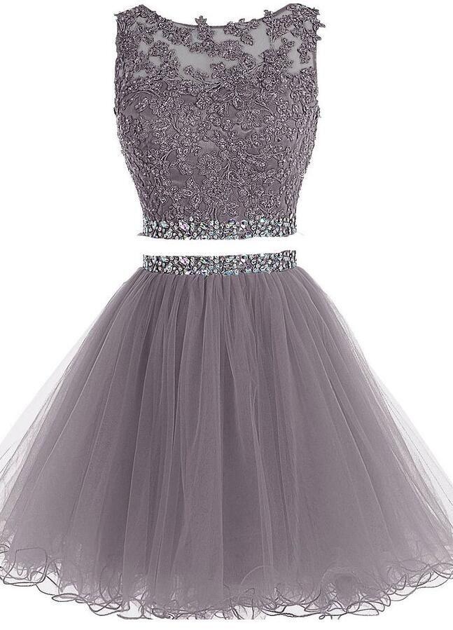 2 Pieces Short Homecoming Dresses Short Beaded Pom Dresses #homecoming #dresses …