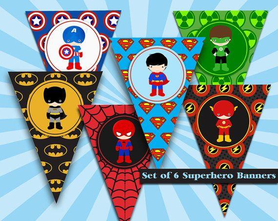 SUPERHERO Banners - Superhero Characters Banner  - Superhero Party - Instant Download - Batman - Spiderman - Superman - Superhero flags