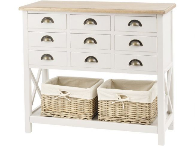 This cream chest of drawers will add rustic style to any hallway scheme. Its nine, metal cup-handled drawers and two wicker baskets offer practical storage solutions.