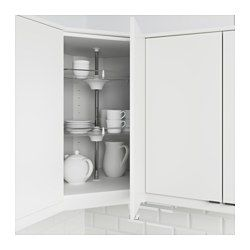 IKEA - UTRUSTA, Wall corner cabinet carousel, 25-year Limited Warranty. Read about the terms in the Limited Warranty brochure.You make maximum use of the corner space and what's inside the cabinet easy to see and reach with the 2 swivel shelves.You can customize your storage as needed, since the tempered glass shelf is adjustable.