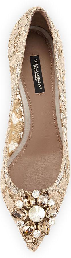 Dolce & Gabbana Jewel-Embellished Lace Pump, Sand | LOLO