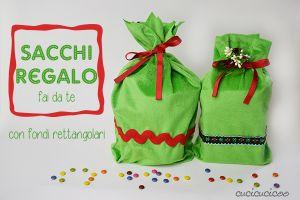 Sacchi regalo fai da te con il fondo rettangolare, senza dover cucire la coulisse! Tutorial su www.cucicucicoo.com