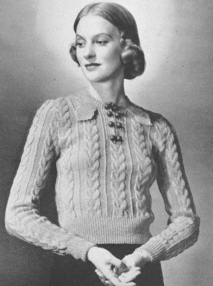 Vintage Fashion 1930S circa 1937 Wishbone stitch with