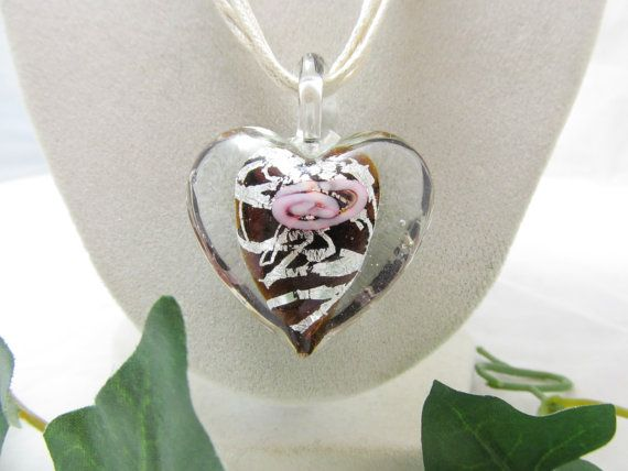 Vintage Glass Heart Necklace Featuring by vintagejewelrycloset