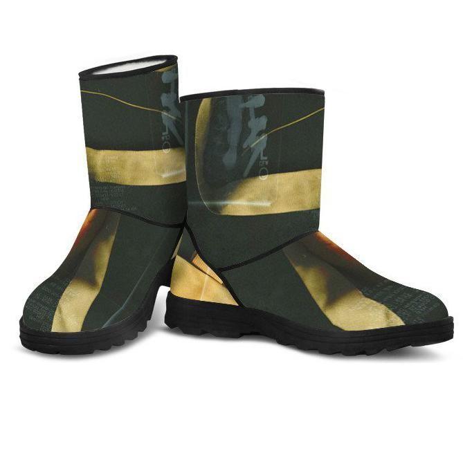 pointe shoe faux fur boots