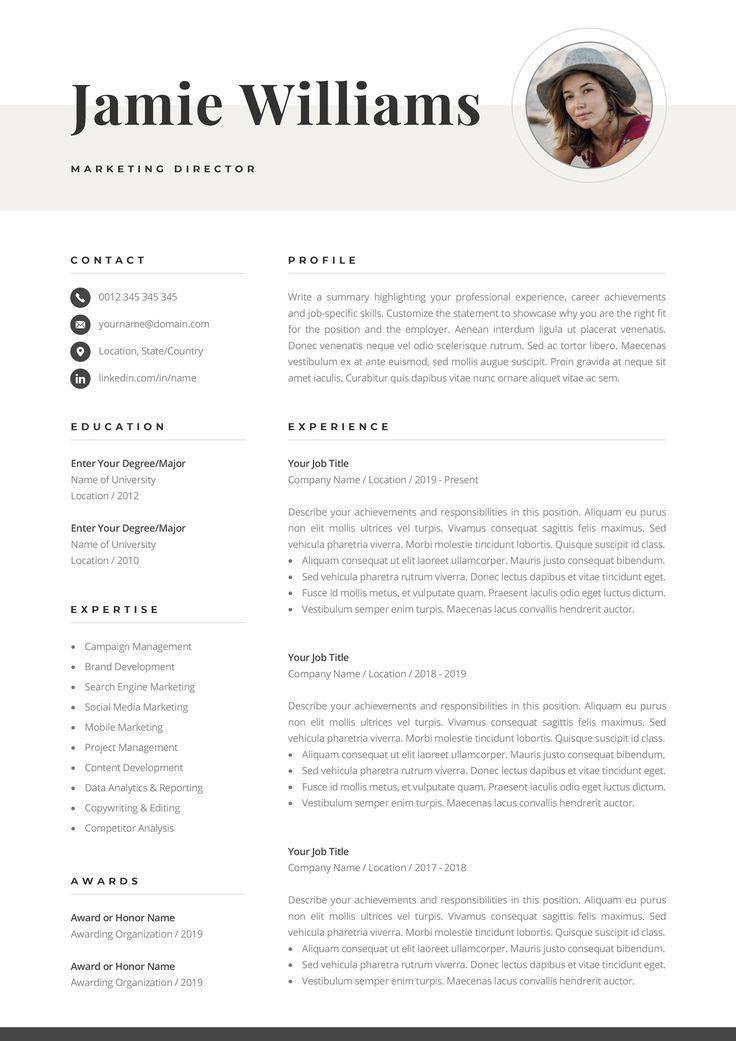 Creative resume template with photo elegant design