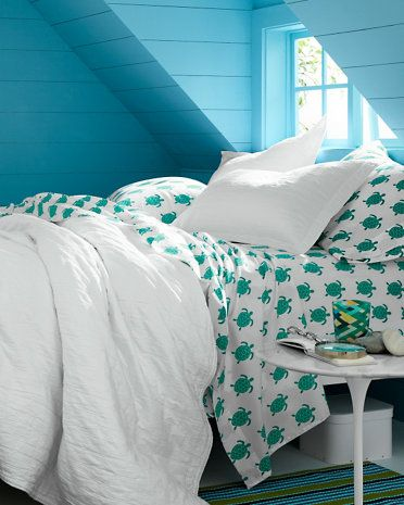 Mini-Print Percale Bedding - sea turtle sheets