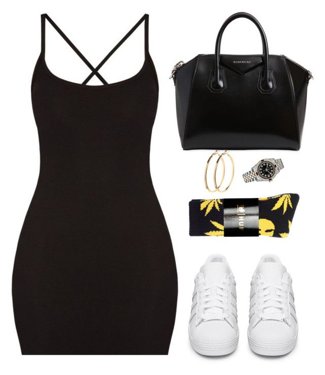 """Are you scared to let them know it's you?"" by hosana-tsarnaev ❤ liked on Polyvore featuring HUF, adidas Originals, Givenchy, Rolex and Pieces"