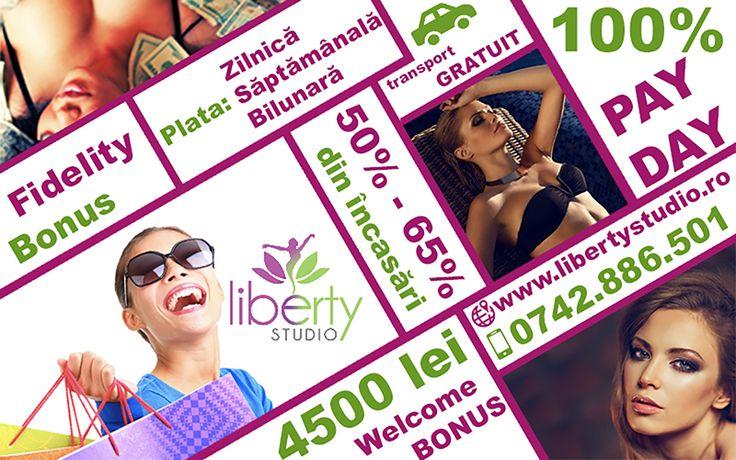 Vrei Welcome Bonus de 4500 RON? Liberty Studio Iași îți poate oferi această sumă și nu numai! Pe lângă un procent din încasări cuprins între 50-65 %, vei putea beneficia și de bonusurile de performanță și de fidelitate! Sună acum la 0742886501 sau intră pe www.libertystudio.ro .