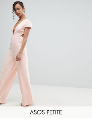 c91f0f3943 ASOS PETITE Plunge Neck Jumpsuit with Wide Leg and Open Back ...