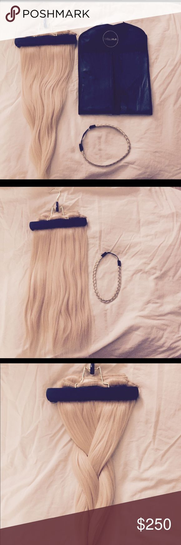 "Bellami Khalessi Hair Extensions 280G 20"" hair extensions, only worn once for my wedding day! I had them blended, and they've never been dyed. 😊 Includes hanger for extensions, braided head band, and a bellami carrier! 7 pieces included. Bellami Other"