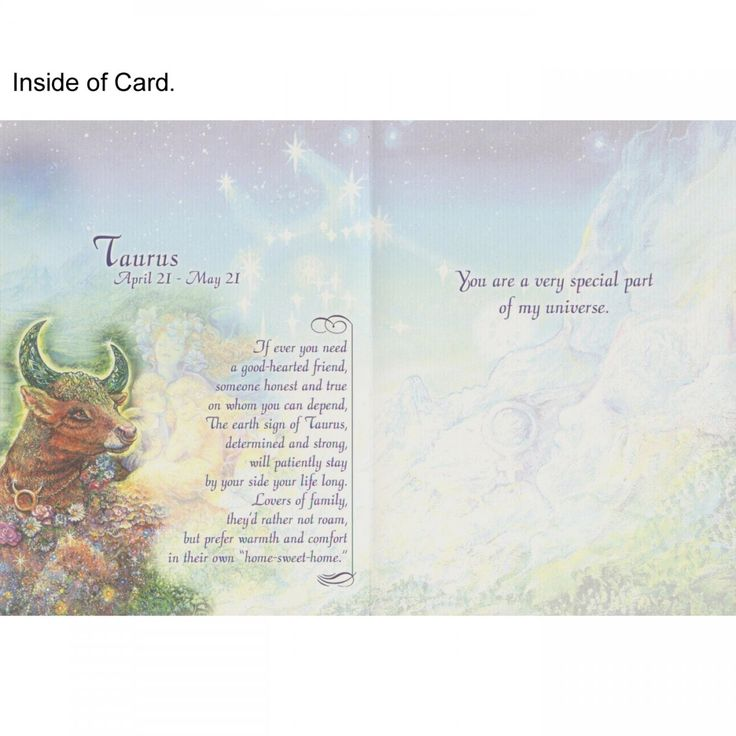 Taurus Greeting Card (April 21 - May 21) - Josephine Wall - Josephine Wall (All Occasions)