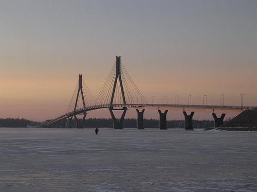 and in winter Raippaluodon Silta, Bridge of Raippaluoto, the longest bridge in Finland 1045m, outside of Vaasa city.
