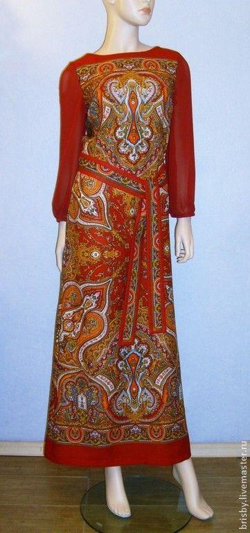 """Купить Платье в пол из павловопосадского платка """"Испанский""""(темно-красное) - пейсли, темно-красный, оранжевый"""