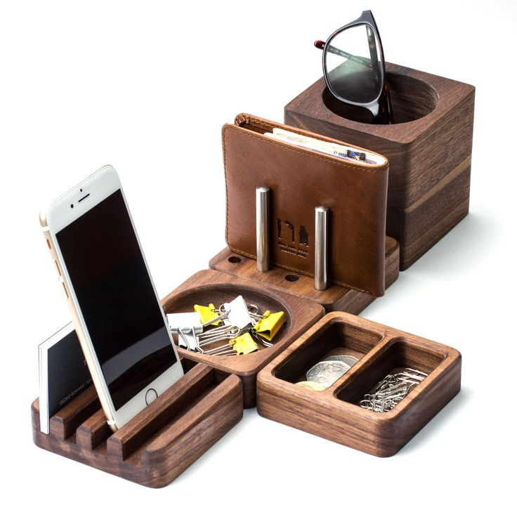 Solid Wood Desk Tidy Modular Set | Man Gun Bear  This solid walnut wood modular Desk Tidy offers premium organisation without compromising on quality or style, ideal for work space in the home or office.  https://mangunbear.com/products/solid-wood-desk-tidy-modular-set  #mensaccessories #desktidy #mangunbear