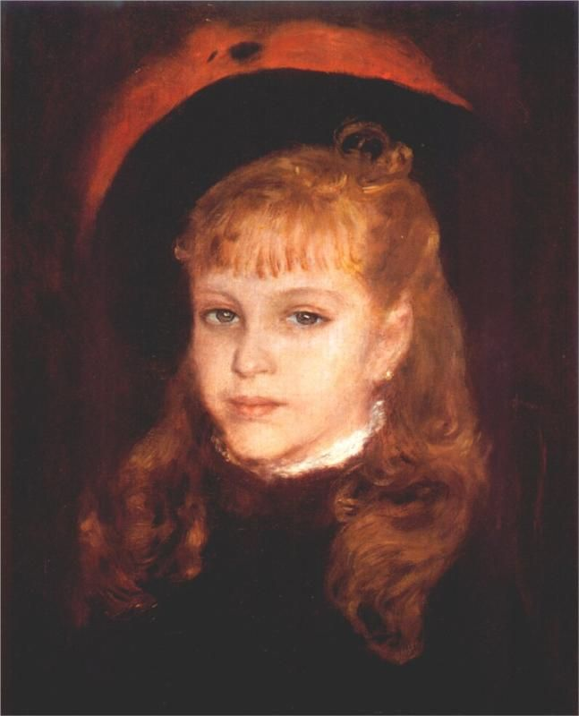 Pierre-Auguste Renoir (French 1841–1919) [Impressionism] Girl with a Pink Feather, 1876.