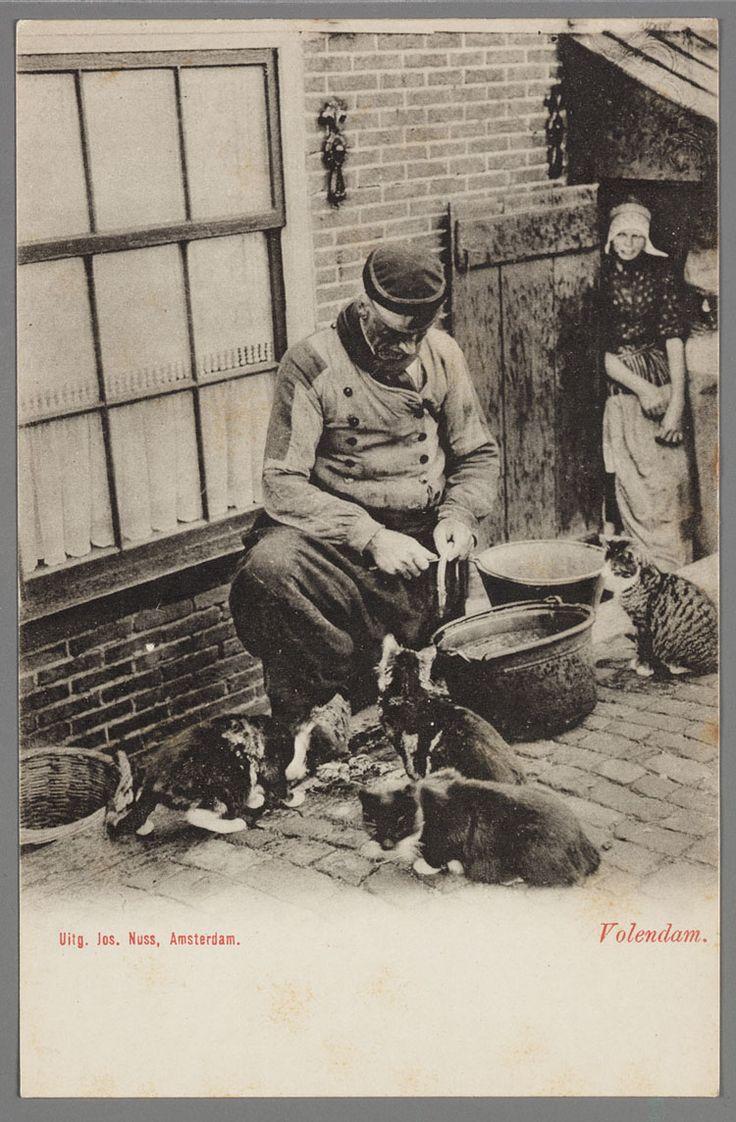 Een Volendammer visser maakt paling schoon omringd door vier katten. Een vrouw kijkt toe in de deuropening. 1900-1908 #NoordHolland #Volendam