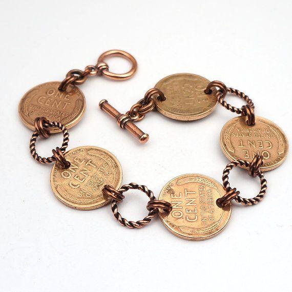 Copper bracelet US wheat penny jewelry by laurelmoonjewelry