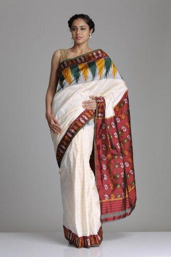 Ivory & Maroon Pochampally Silk Saree With A Temple Border