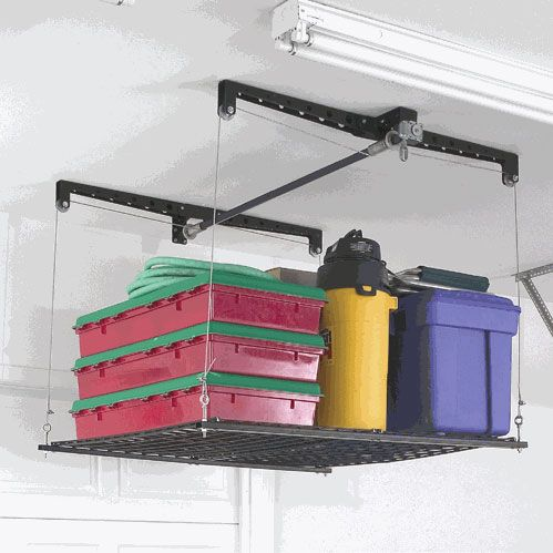 Overhead Garage Storage And Ceiling Pulley Shelving