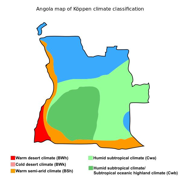 Angola map of Köppen climate classification.