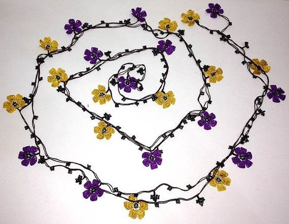 PURPLE and YELLOW Beaded Lariat Crochet flower by istanbuloya