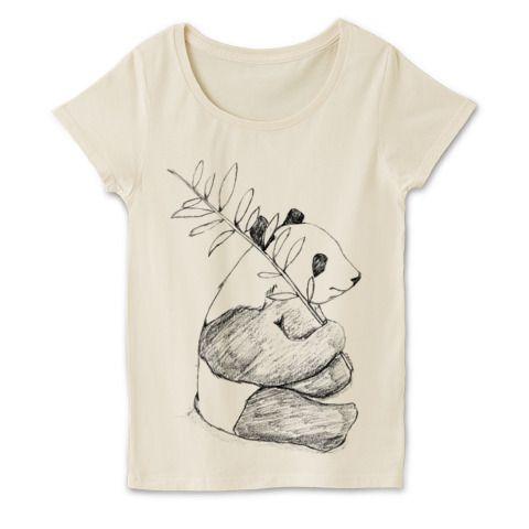 パンダのラフスケッチTシャツ | デザインTシャツ通販 T-SHIRTS TRINITY(Tシャツトリニティ) 鉛筆でスケッチブックにそのまま描いたイラストをそのままTシャツへ!鉛筆の粗いタッチがお洒落でアートなデザインTシャツ。オリジナルデザインギフトにも使える動物Tシャツです。