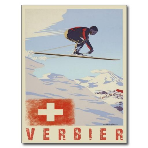Cool postcard with vintage ski print from Verbier, Switzerland. Send your ski bum greetings with a nice print from one of the best ski resorts in the Swiss alps if not in the world! Also available as cool posters and greeting cards ...