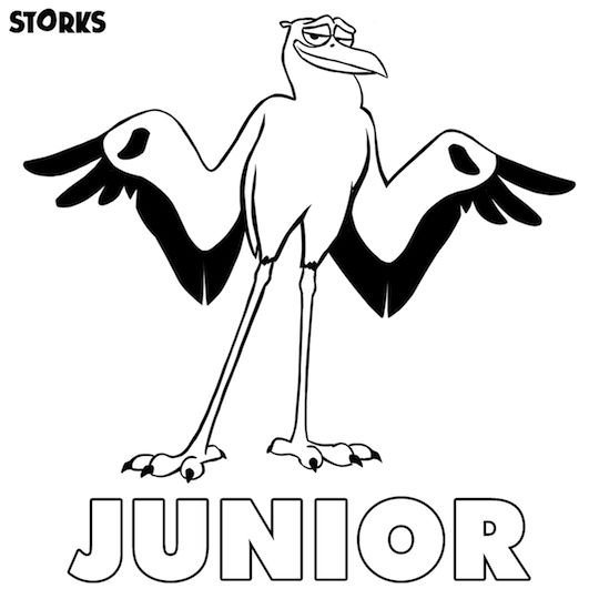 storks coloring page junior