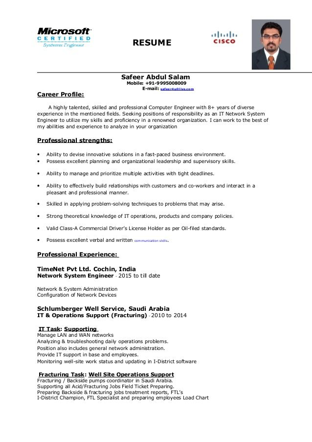 Network System Engineer Resume Awesome Network System Engineer Resume Resume Headline For Network Engineer In 2020 Engineering Resume Resume Good Resume Examples