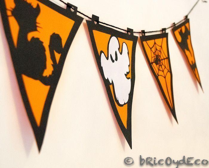 Esta guirnalda para Halloween hecha con cartulina es una manualidad ideal para hacerla con niños y decorar nuestras fiestas