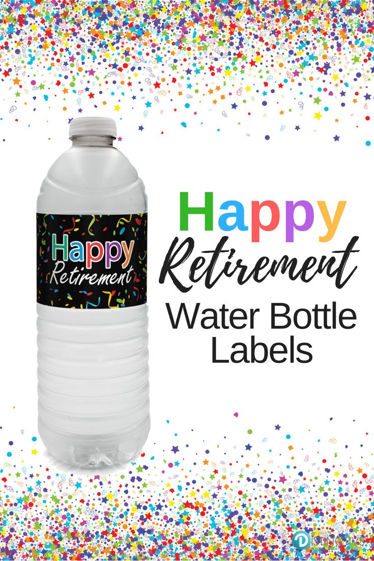 These colorful Retirement Water Bottle Labels are the perfect refreshment decorations for your upcoming happy retirement event. #retirementparty #retirement