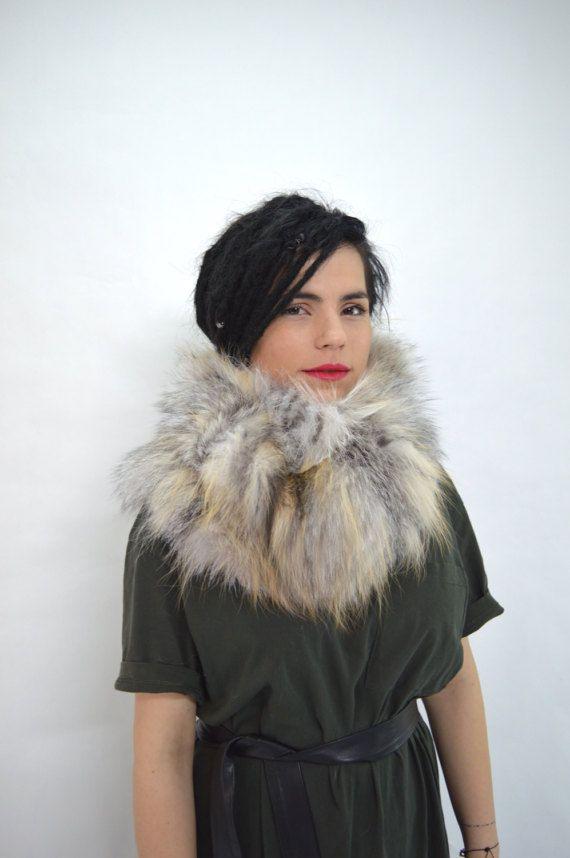 Real fur collar golden island fox cowl white fox fur by BeFur