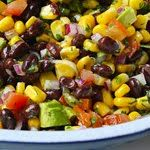 Southwestern Black Bean Salad  Gina's Weight Watcher Recipes  Servings: 12 • Size: 1/2 cup • Calories: 106 •g  Ingredients:  1- 15.5 oz can black beans, rinsed and drained , 9 oz frozen corn, thawed, 1-tomato,chopped 1 small hass avocado, diced, 1/4 cup red onion, chopped 1 scallion, chopped, 1 lime, juice of, 3 tbsp extra virgin olive oil, 1 tbsp cilantro salt