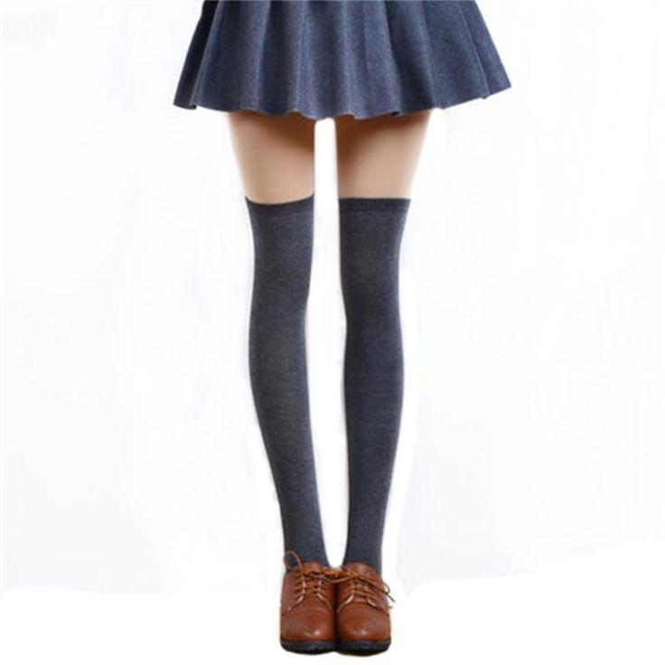 1 Paar 5 Effen Kleuren Mode Sexy Warme Dij Hoge Over de Knie Sokken Lange Katoenen Kousen Voor Meisjes Dames Vrouwen