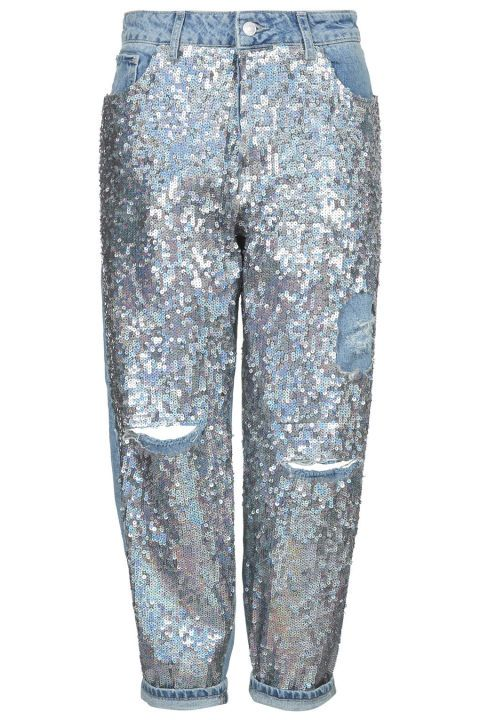 Topshop Moto Sequin Boyfriend Jeans. Shop this and 29 other denim pieces that are Coachella-ready.