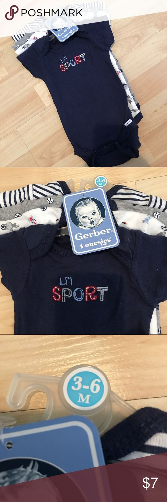 Baby boy sports theme onesies Baby boy sports theme onesies. Short sleeve body suits. Brand new with tags. Never worn. Size 3-6 months. Gerber One Pieces Bodysuits