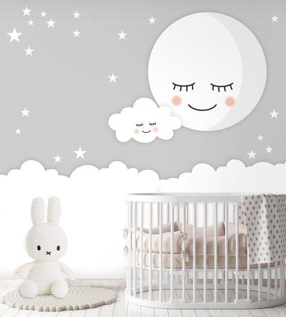 Tapete Fototapete Kinderzimmer Babyzimmer Mond Wolke | Etsy ...