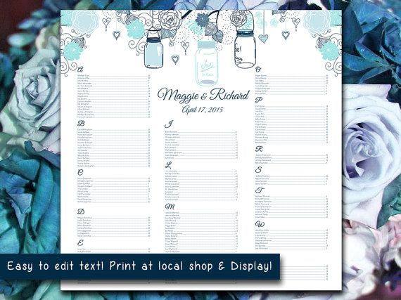 "Wedding Seating Chart Template | Mason Jar Blue Mint Rustic Word Template | Editable Text | 22"" x 22"" Wedding Download by PaintTheDayDesigns"
