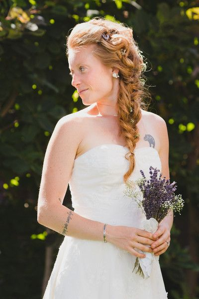 Natural bridal look idea - loose side braid with baby's breath accents  {Andrea Bibeault: A Wedding Photojournalist}