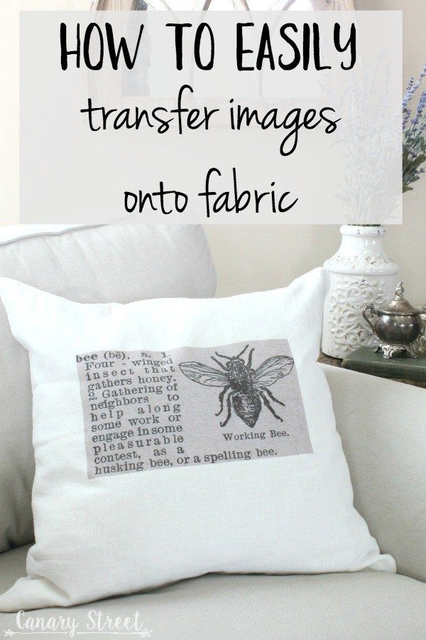 How to easily transfer images onto fabric- http://canarystreetcrafts.com/. Make these easy DIY throw pillows using a simple technique for transferring images onto fabric.