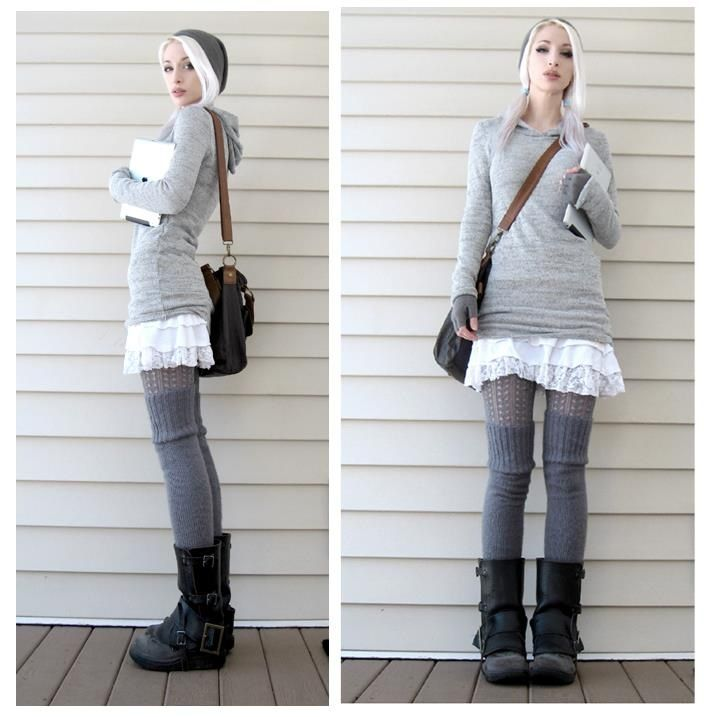 {Kato - steamgirl :)} The grey, the layers, the long lines, and the boots all fit my style prerogative.                                                                                                                                                     More