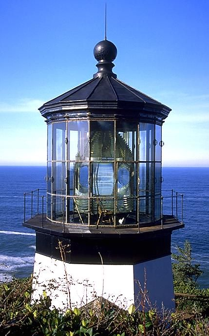 Cape Meares Lighthouse    Location: 10 miles west of Tillamook and the Pacific Coast Scenic Byway.  Noteworthy: Cape Meares Lighthouse can be viewed from the Cape Meares State Scenic Viewpoint. It stands 217 feet above ocean; and its 38-foot tower makes it the shortest on the Oregon coast.  Hiking: Trailheads from the main parking are to the lighthouse and viewpoints overlooking offshore islets inhabited by sea lions and nesting seabirds.