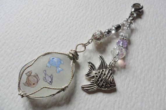 Pastel fish hand painted wire wrapped sea by ShePaintsSeaglass, $12.00