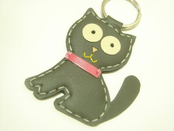 Leather Keychain - MoMo the Cat Leather Charm ( Dark Grey ) on Etsy, $22.82 AUD