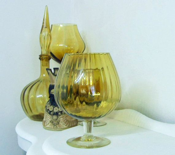 Large 1970s light amber optical glass brandy snifter by RAVERETRO