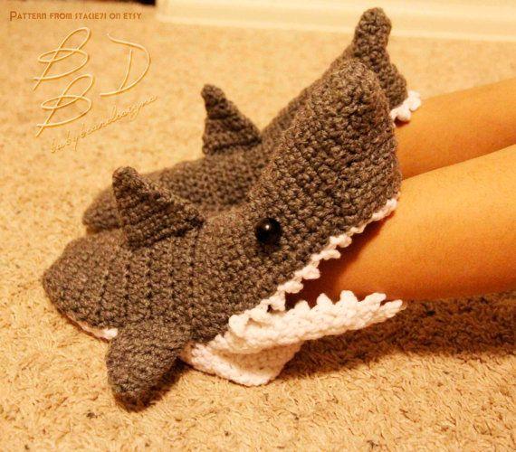 Crocheted Shark Slipper Socks Clothing Pinterest