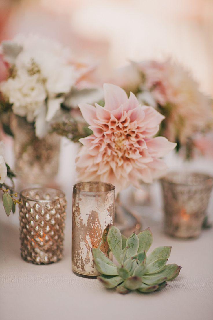 #mercury-glass, #dahlia  Photography: Kelly Stonelake Photography - kellystonelake.com  Read More: http://www.stylemepretty.com/2013/10/23/beachy-bohemian-inspired-wedding-from-kelly-stonelake-photography/